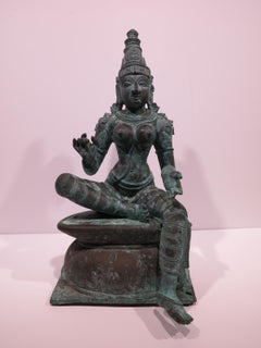 19th-century Indian Chola bronze figure of a goddess