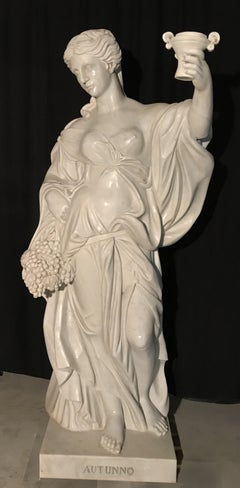 19th Century Italian White Marble Sculpture Allegory Of The Autumn