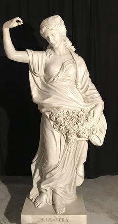 19th Century Italian White Marble Sculpture Allegory Of The Spring