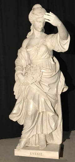 19th Century Italian White Marble Sculpture Allegory Of The Summer
