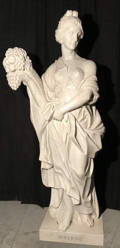 19th Century Italian White Marble Sculpture Allegory Of The Winter
