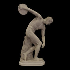 19th Century Italian White Marble Sculpture of Discobolus After Greek Mirone