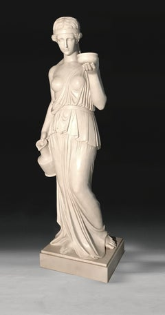 19th Century Italian White Marble Sculpture of Ebe After Canova