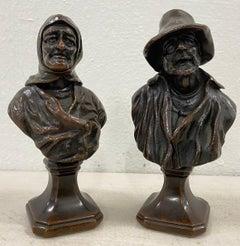 19th Century Old Man & Woman Bronze Sculptures