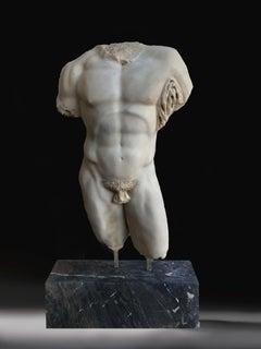 19th Century SculptureTorso  Hercules Farnese Italian White Marble