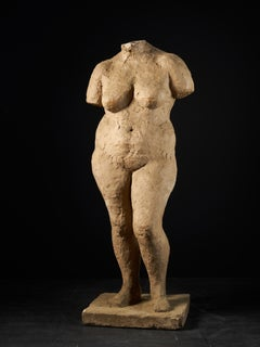 20th C, Françoise Rival (1927-1990), Statue of a Standing Naked Woman in Plaster