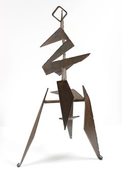 20th Century Angular Geometric Standing Form in Welded Steel Sculpture