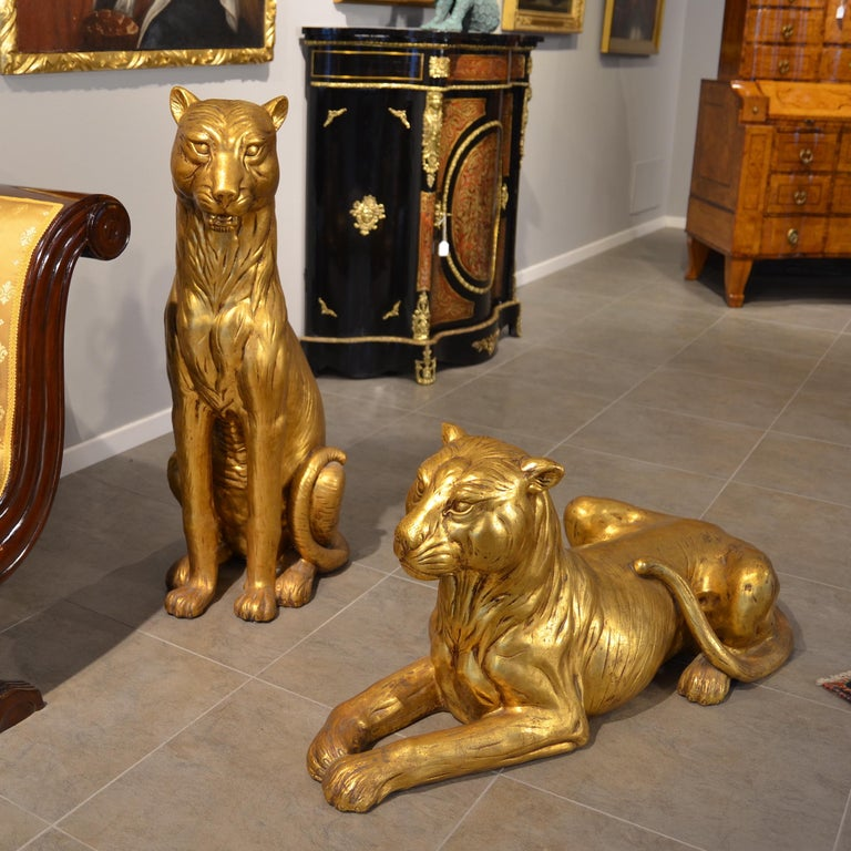 20th Century Art Deco Terracotta Italian Lioness Statues with Gold Leaves, 1930 - Sculpture by Unknown