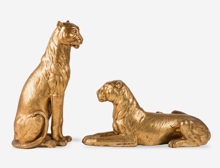 20th Century Art Deco Terracotta Italian Lioness Statues with Gold Leaves, 1930 For Sale 6