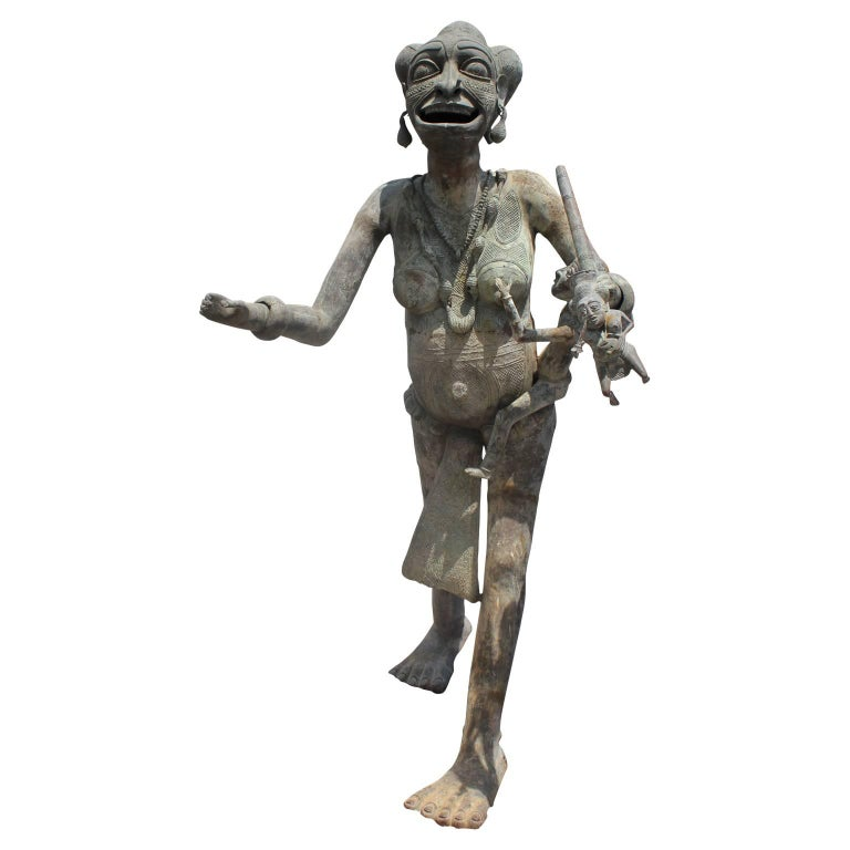 Unknown Figurative Sculpture - 20th Century Foumban Cameroon Bronze African Maternity Sculpture