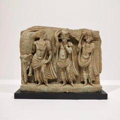 3rd Century Gandharan Relief with 3 Figures and Elephant