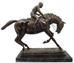 A bronze equestrian statue of a Jockey on his horse 19 century
