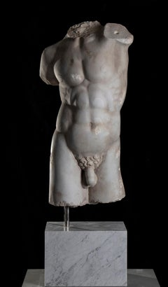 A Classical Roman Style Marble Sculpture Torso Of A God Or Athlete