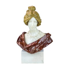 French Marble Bust of a Young Lady
