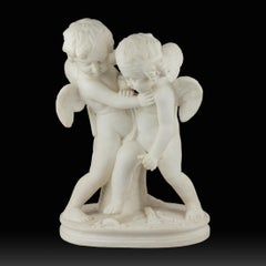 White Marble Sculpture Statue of Two Cherubs Playing