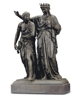 A FRENCH BRONZE-PATINATED SPELTER GROUP ENTITLED 'LA SCIENCE GUIDANT L'INDUSTRIE