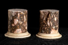 A Pair Of Sculpture Specimen Breccia Marble Pedestals Italian 20th Century