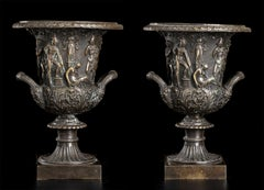 A Sculpture Bronze Pair of Medici Vase Grand Tour Style