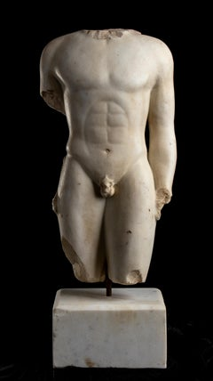 A White Marble Figurative Nude Sculpture Torso Of a Youth Greek Classical Style
