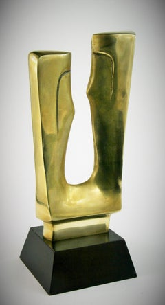 Abstract Man and Woman Large Brass Sculpture