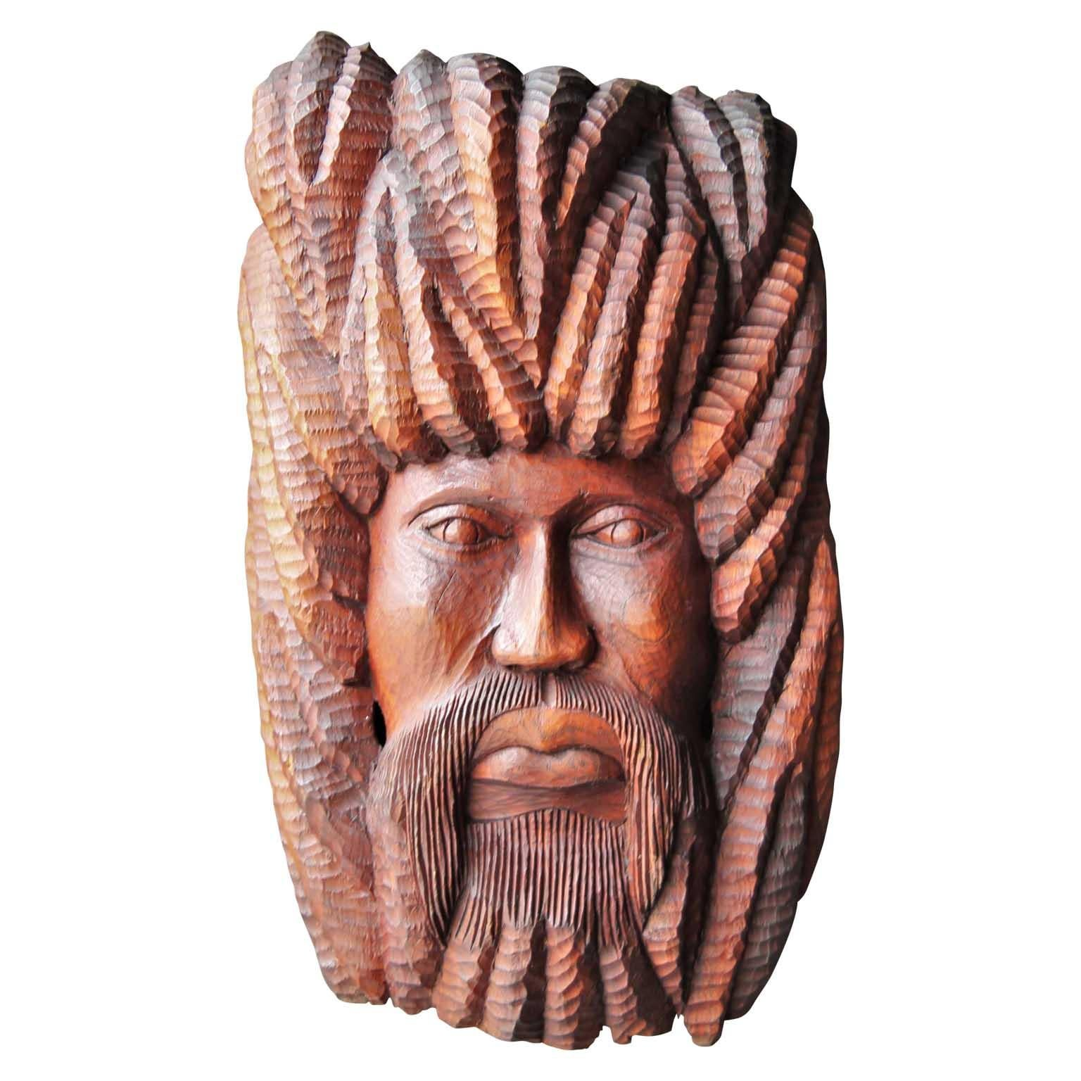Abstract Wooden Teak Hand Carved Figurative Face Sculpture