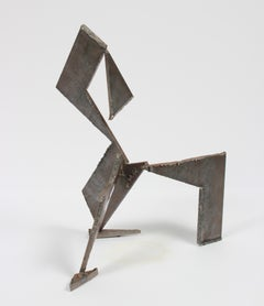 Abstracted Geometric Welded Steel Sculpture, Late 20th Century