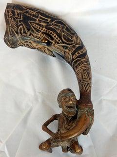 AFRICAN BRONZE AND HORN BAMILEKE SCULPTURE