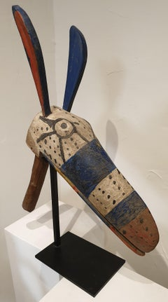 African zoomorphic puppet head sculpture from the Bozo Tribe in Mali.
