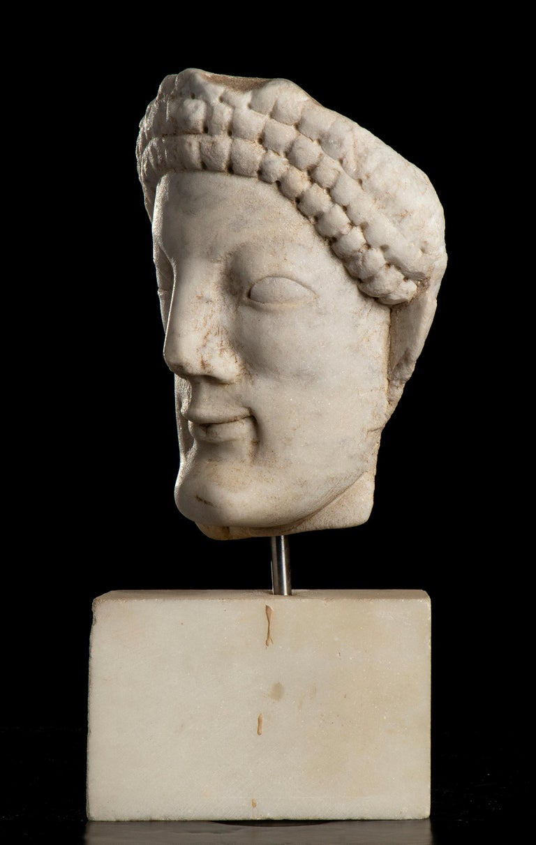 After the Antique White Statuary Marble Sculpture of Hecate  For Sale 1