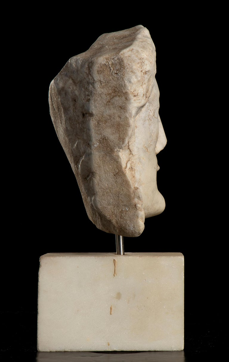 After the Antique White Statuary Marble Sculpture of Hecate  For Sale 2