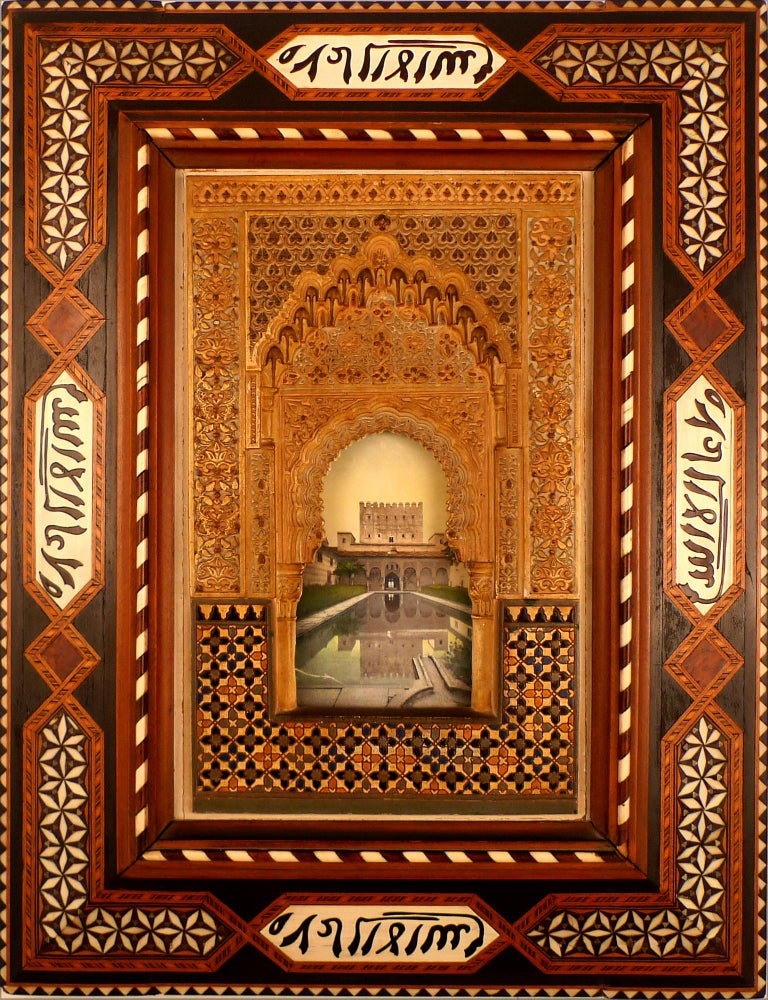 """Unknown Figurative Sculpture - """"Alhambra Facade Model Plaque"""", Early 20th Century Polychromed Stucco Plaque"""