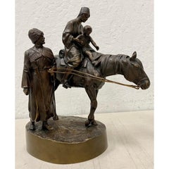 "A.M. Bonegor Russian School ""Young Cossack Family"" Bronze Sculpture c.1908"