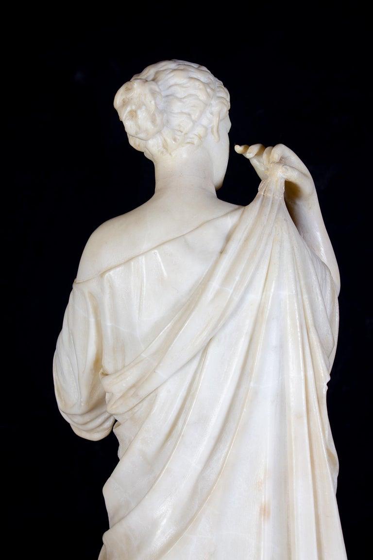 Amazing Neoclassical Alabaster Sculpture of Vestal 1870 For Sale 7