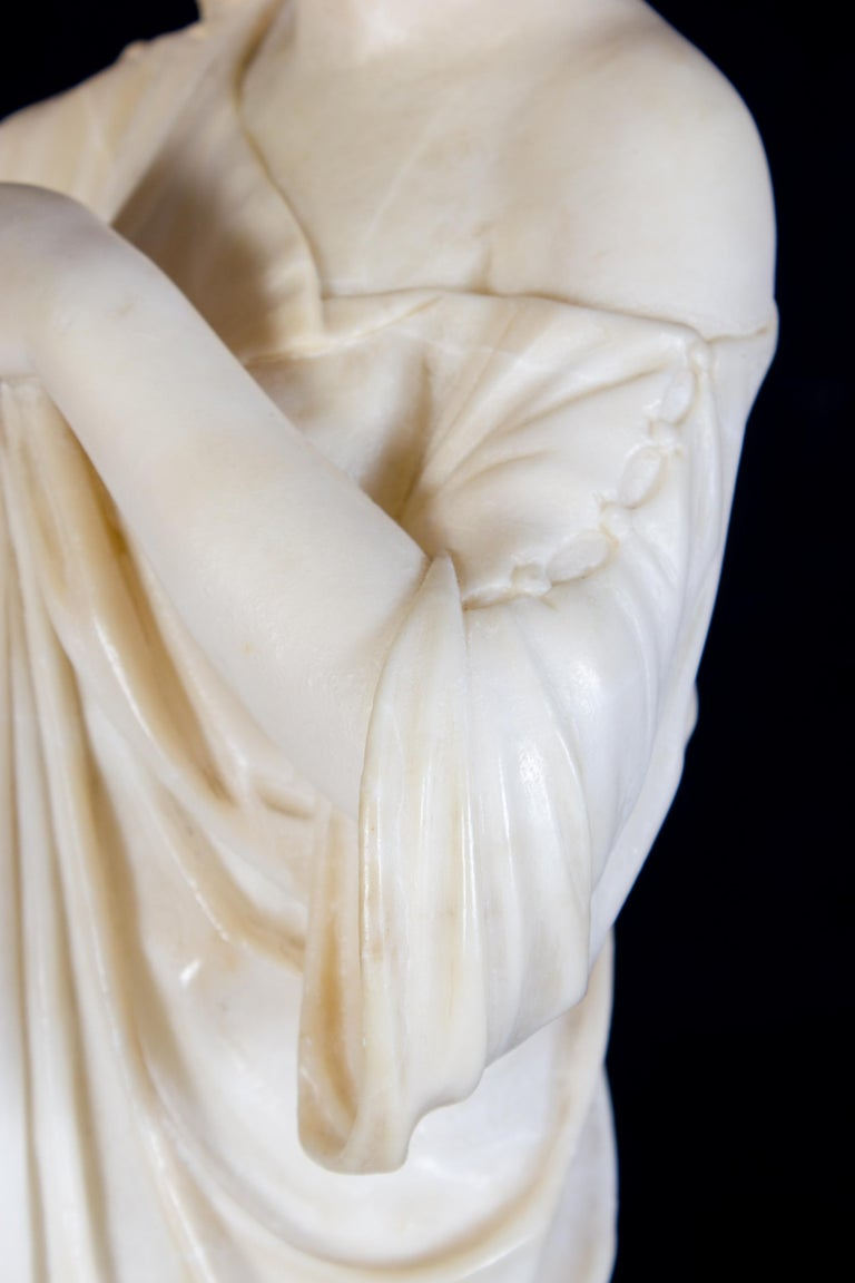 Amazing Neoclassical Alabaster Sculpture of Vestal 1870 For Sale 9