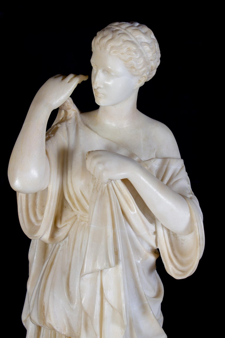 Amazing Neoclassical Alabaster Sculpture of Vestal 1870 - Black Nude Sculpture by Unknown