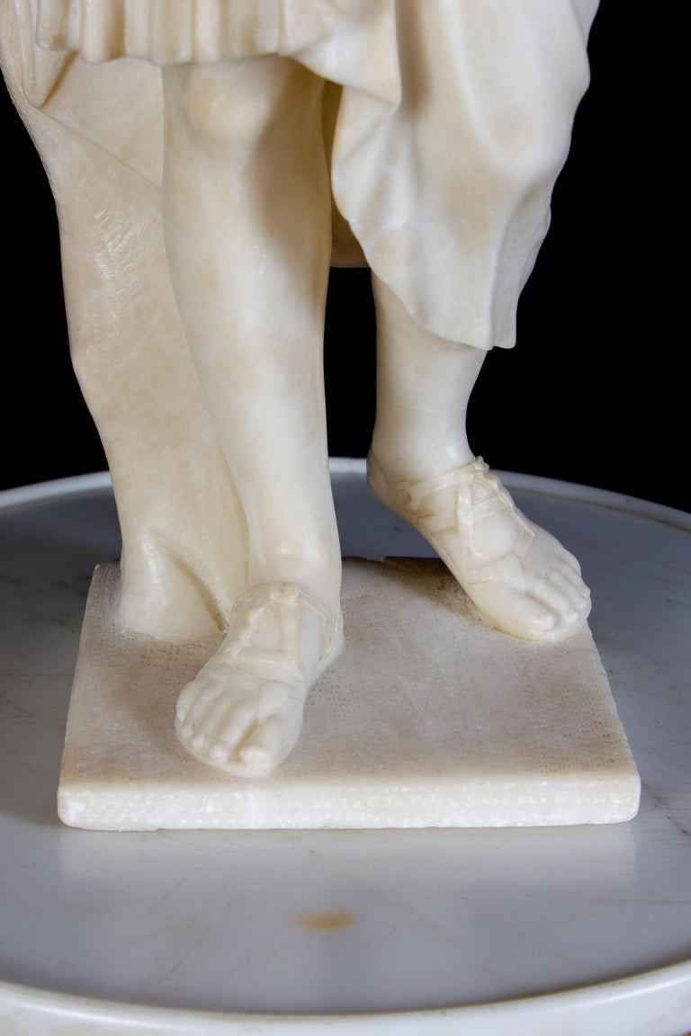 Amazing Neoclassical Alabaster Sculpture of Vestal 1870 For Sale 1