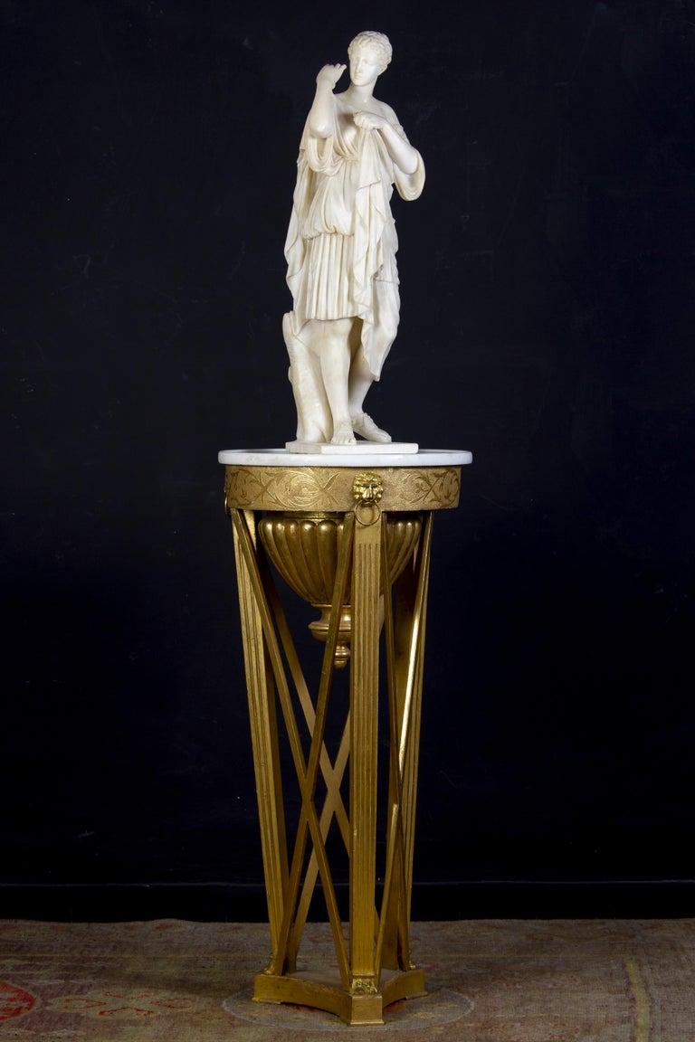 Amazing Neoclassical Alabaster Sculpture of Vestal 1870 For Sale 2