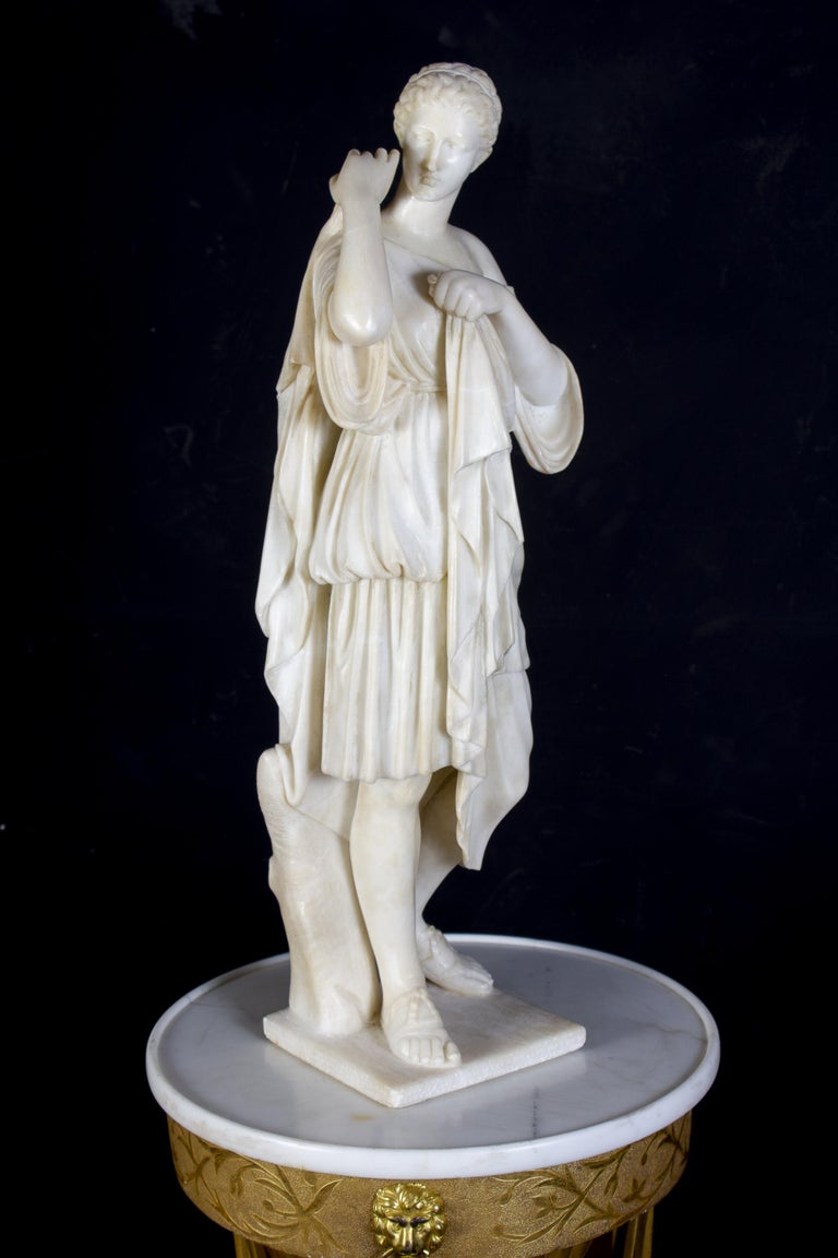 Amazing Neoclassical Alabaster Sculpture of Vestal 1870 For Sale 3