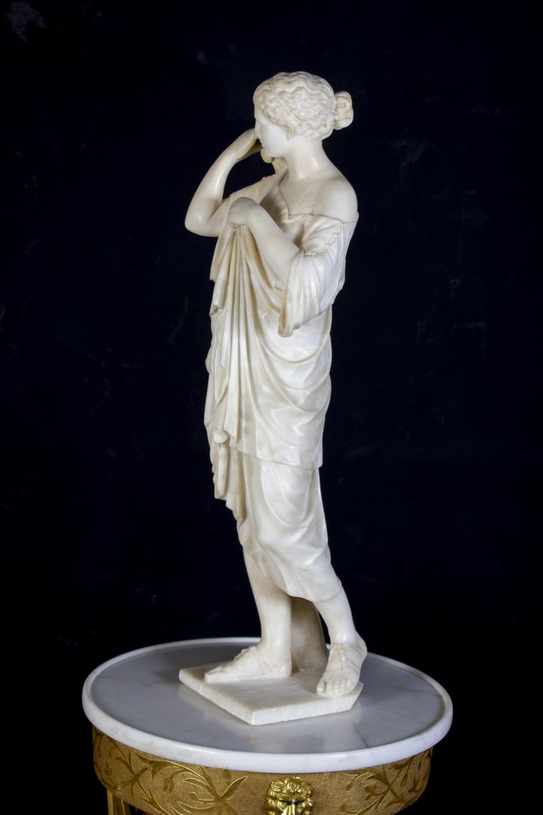 Amazing Neoclassical Alabaster Sculpture of Vestal 1870 For Sale 4