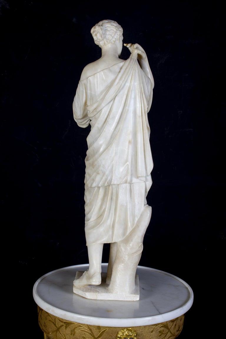 Amazing Neoclassical Alabaster Sculpture of Vestal 1870 For Sale 5
