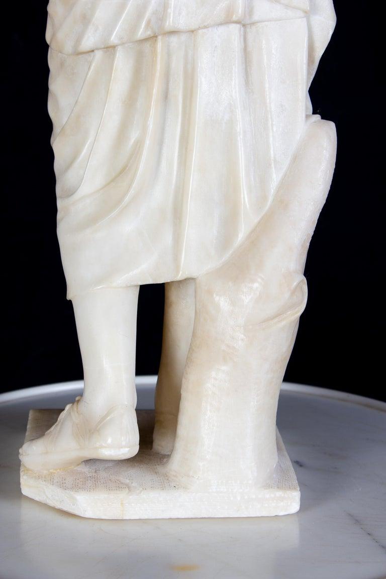 Amazing Neoclassical Alabaster Sculpture of Vestal 1870 For Sale 6