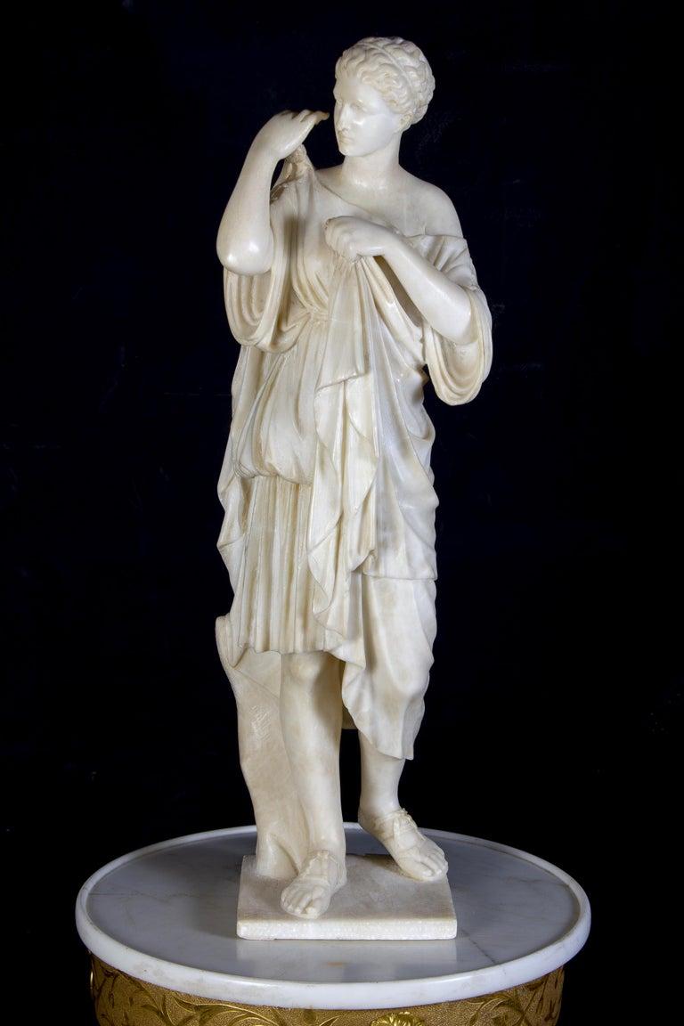 Unknown Nude Sculpture - Amazing Neoclassical Alabaster Sculpture of Vestal 1870