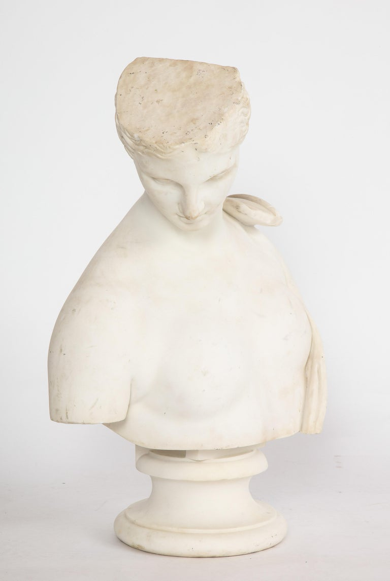 An Antique Italian Neoclassical Marble Bust of Psyche, by Giuseppe Carnevale For Sale 7