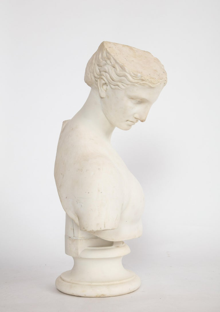 An Antique Italian Neoclassical Marble Bust of Psyche, by Giuseppe Carnevale For Sale 8