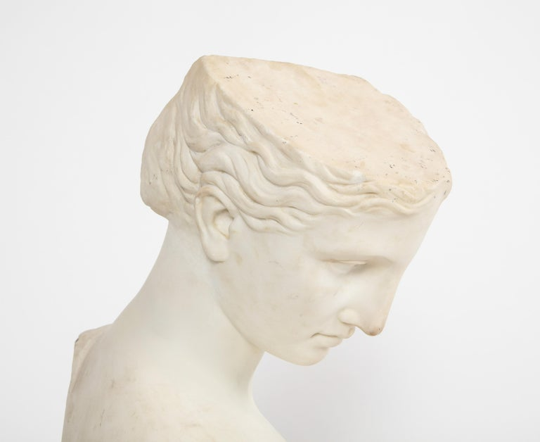 An Antique Italian Neoclassical Marble Bust of Psyche, by Giuseppe Carnevale For Sale 9