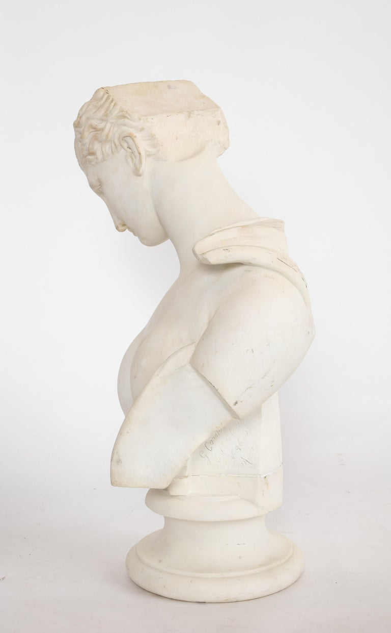 An Antique Italian Neoclassical Marble Bust of Psyche, by Giuseppe Carnevale For Sale 14