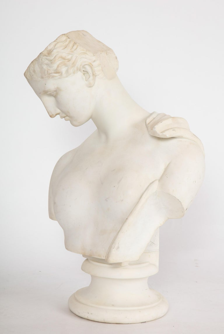 An Antique Italian Neoclassical Marble Bust of Psyche, by Giuseppe Carnevale - Sculpture by Unknown