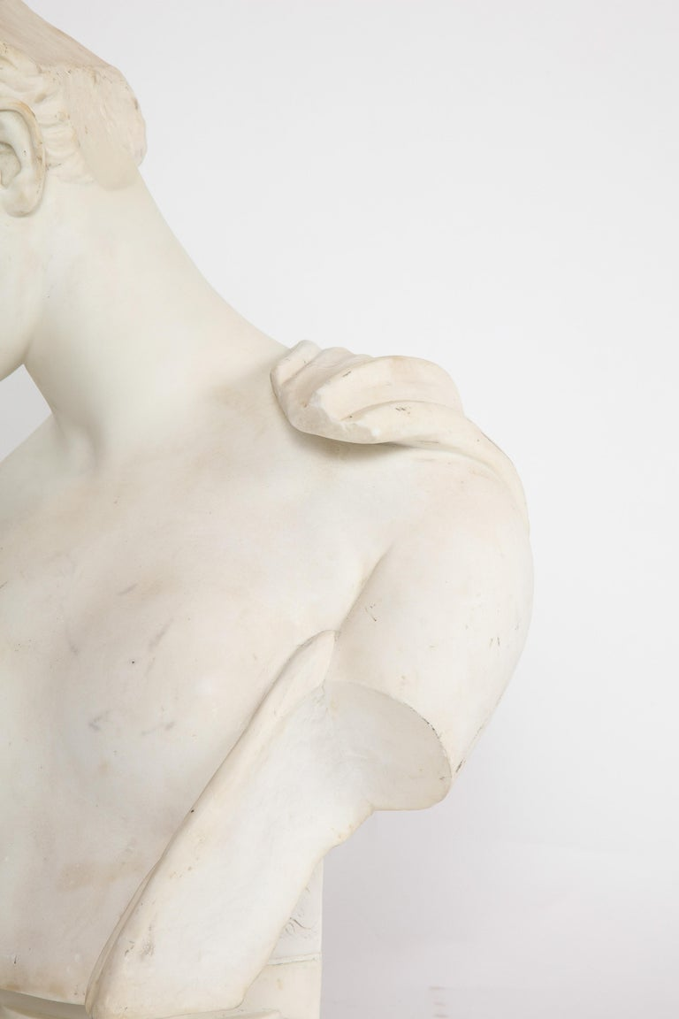 An Antique Italian Neoclassical Marble Bust of Psyche, by Giuseppe Carnevale For Sale 1