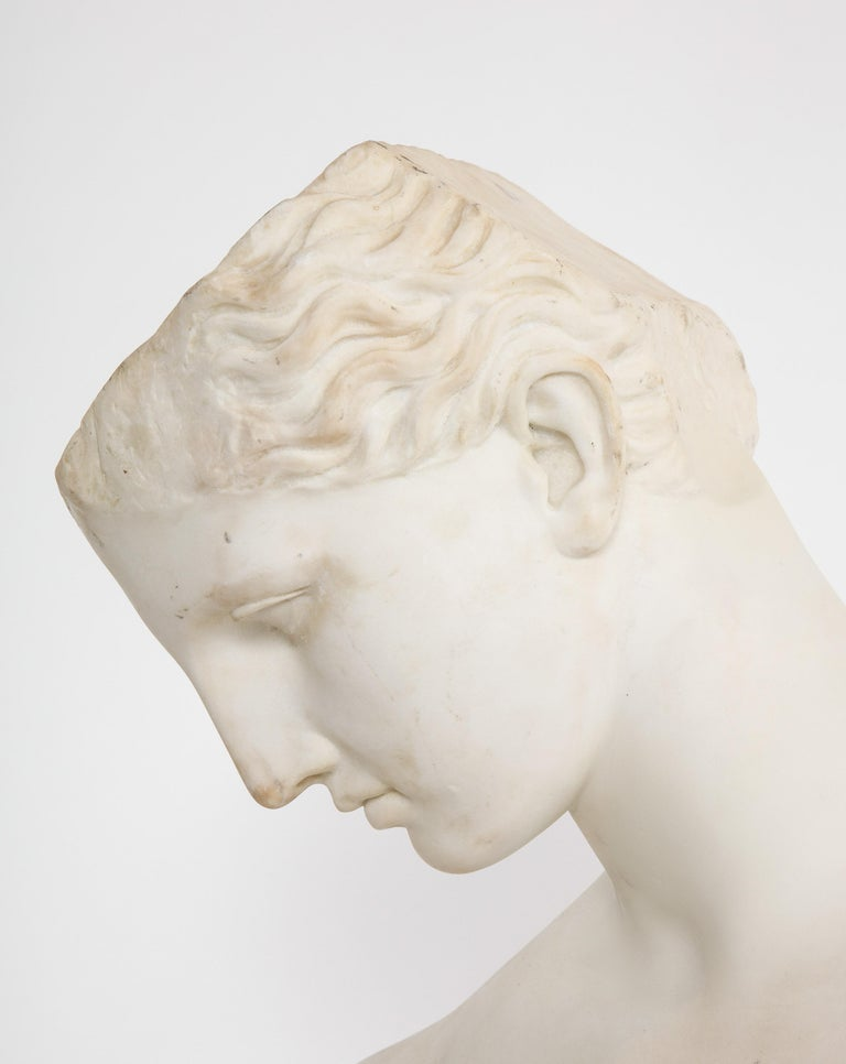 An Antique Italian Neoclassical Marble Bust of Psyche, by Giuseppe Carnevale For Sale 3