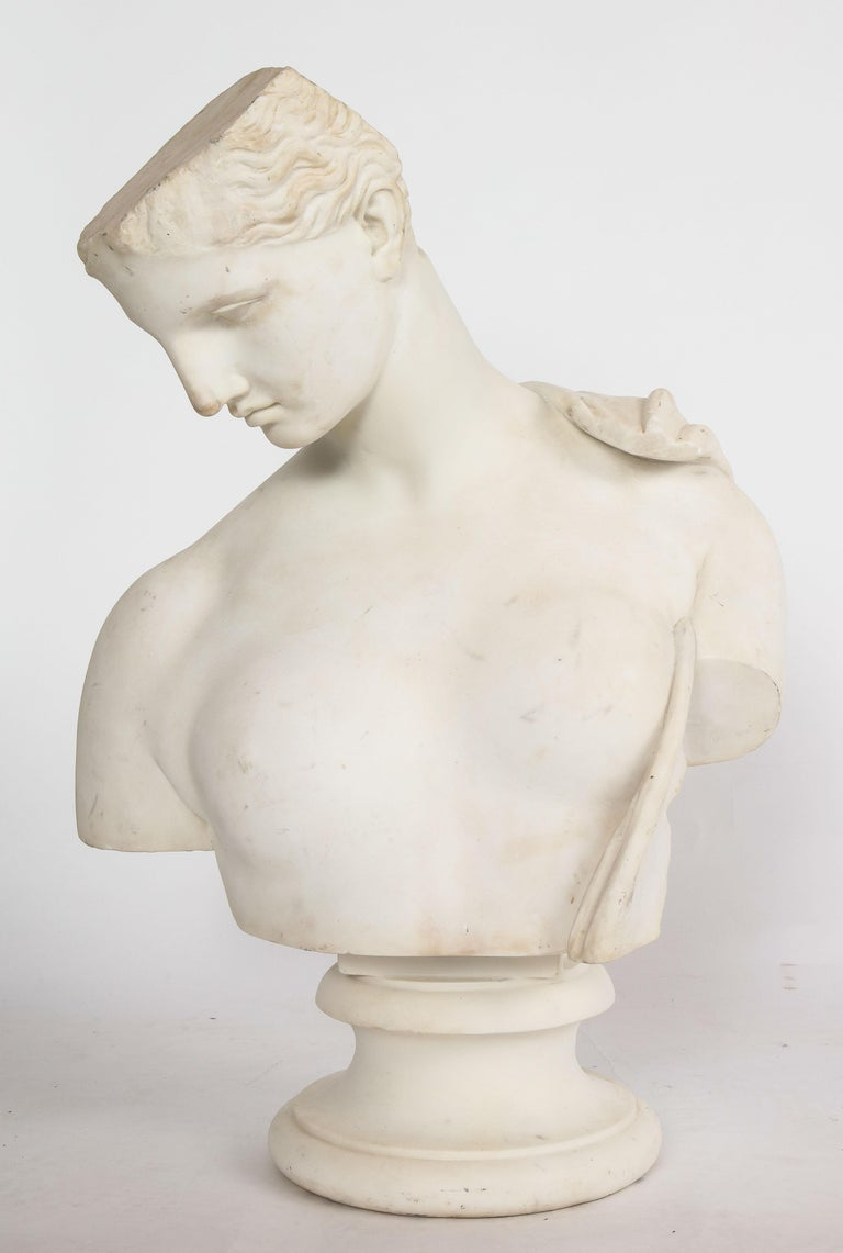 An Antique Italian Neoclassical Marble Bust of Psyche, by Giuseppe Carnevale For Sale 6